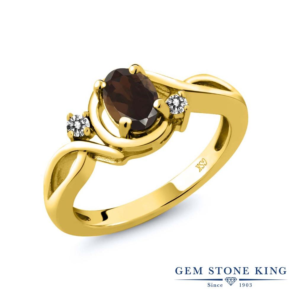 【10%OFF】 Gem Stone King 0.82カラット 天然 スモーキークォーツ (ブラウン) ダイヤモンド 指輪 リング レディース シルバー925 イエローゴールド 加工 シンプル ソリティア 天然石 クリスマスプレゼント 女性 彼女 妻 誕生日