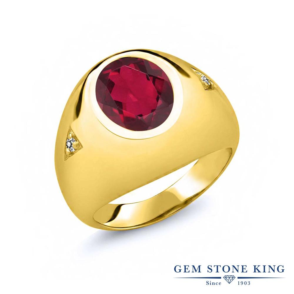 Gem Stone King 4.07カラット 天然 ミスティッククォーツ (ルビーレッド) 天然 ダイヤモンド シルバー925 イエローゴールドコーティング 指輪 リング レディース 大粒 シンプル ソリティア 天然石 金属アレルギー対応 誕生日プレゼント