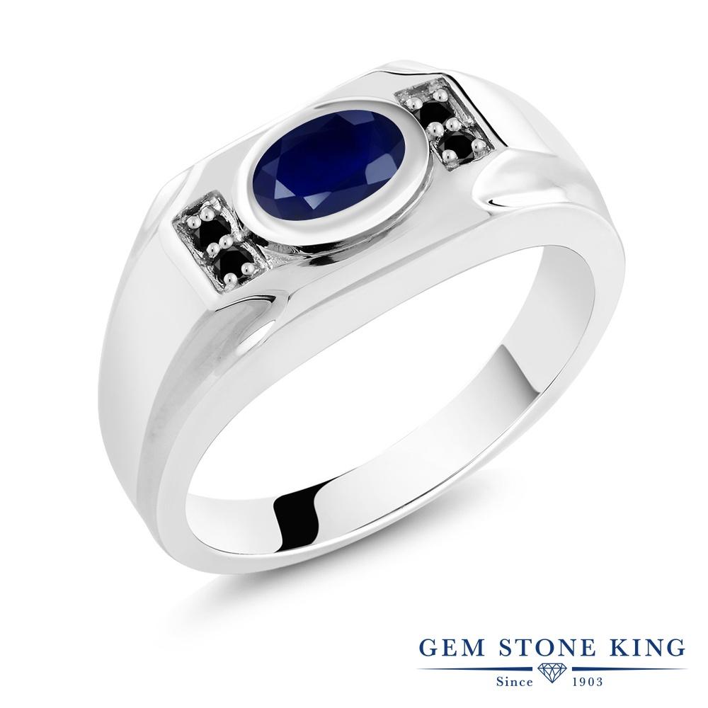 Gem Stone King 1.92カラット 天然 サファイア 天然ブラックダイヤモンド シルバー925 指輪 リング レディース 大粒 マルチストーン 天然石 9月 誕生石 金属アレルギー対応 誕生日プレゼント