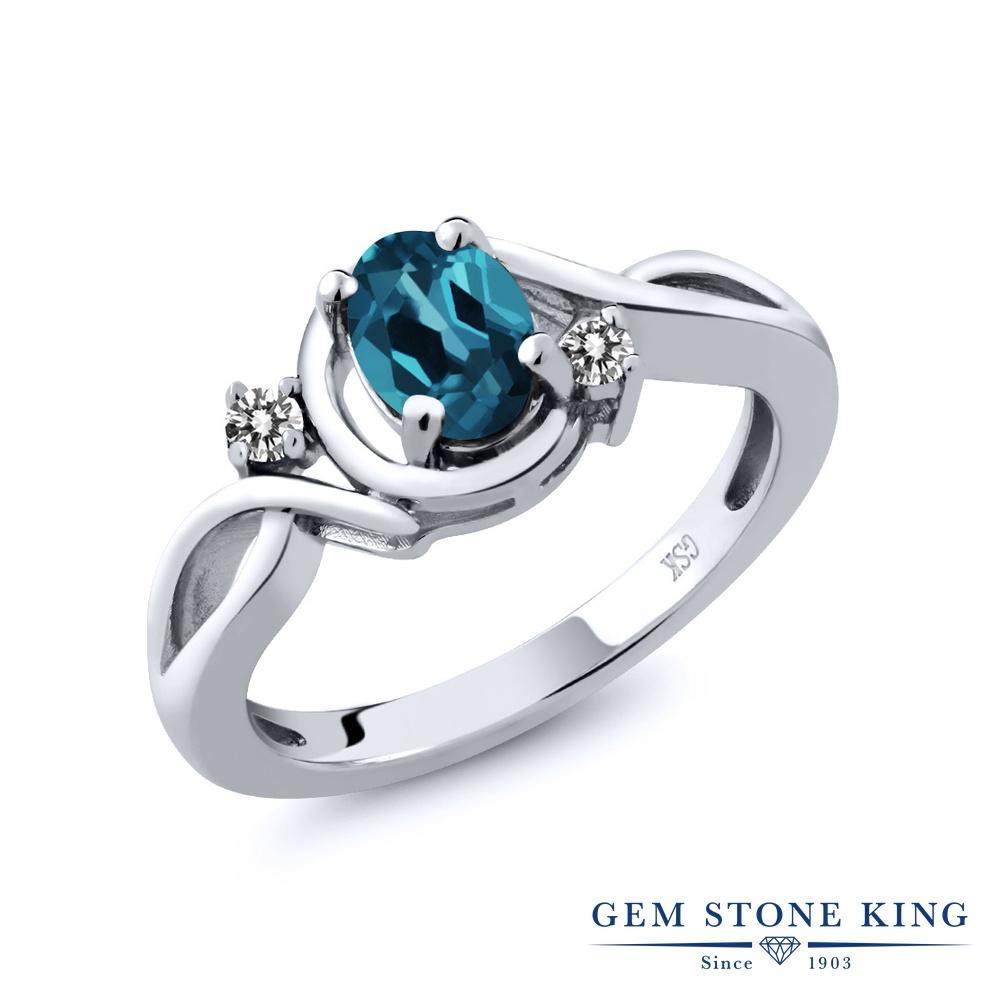 Gem Stone King 0.97カラット 天然 ロンドンブルートパーズ 天然 ダイヤモンド シルバー925 指輪 リング レディース シンプル ソリティア 天然石 11月 誕生石 金属アレルギー対応 誕生日プレゼント
