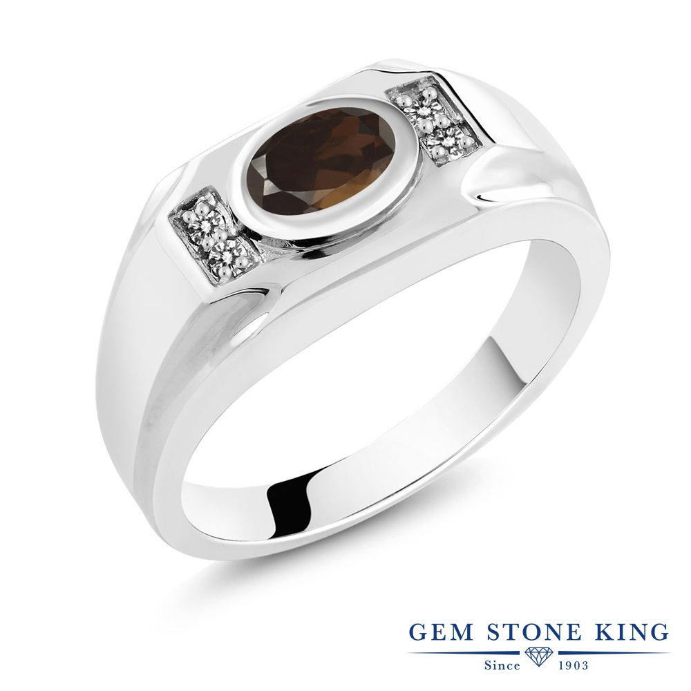 Gem Stone King 1.33カラット 天然 スモーキークォーツ (ブラウン) 天然 ダイヤモンド シルバー925 指輪 リング レディース 大粒 マルチストーン 天然石 金属アレルギー対応 誕生日プレゼント