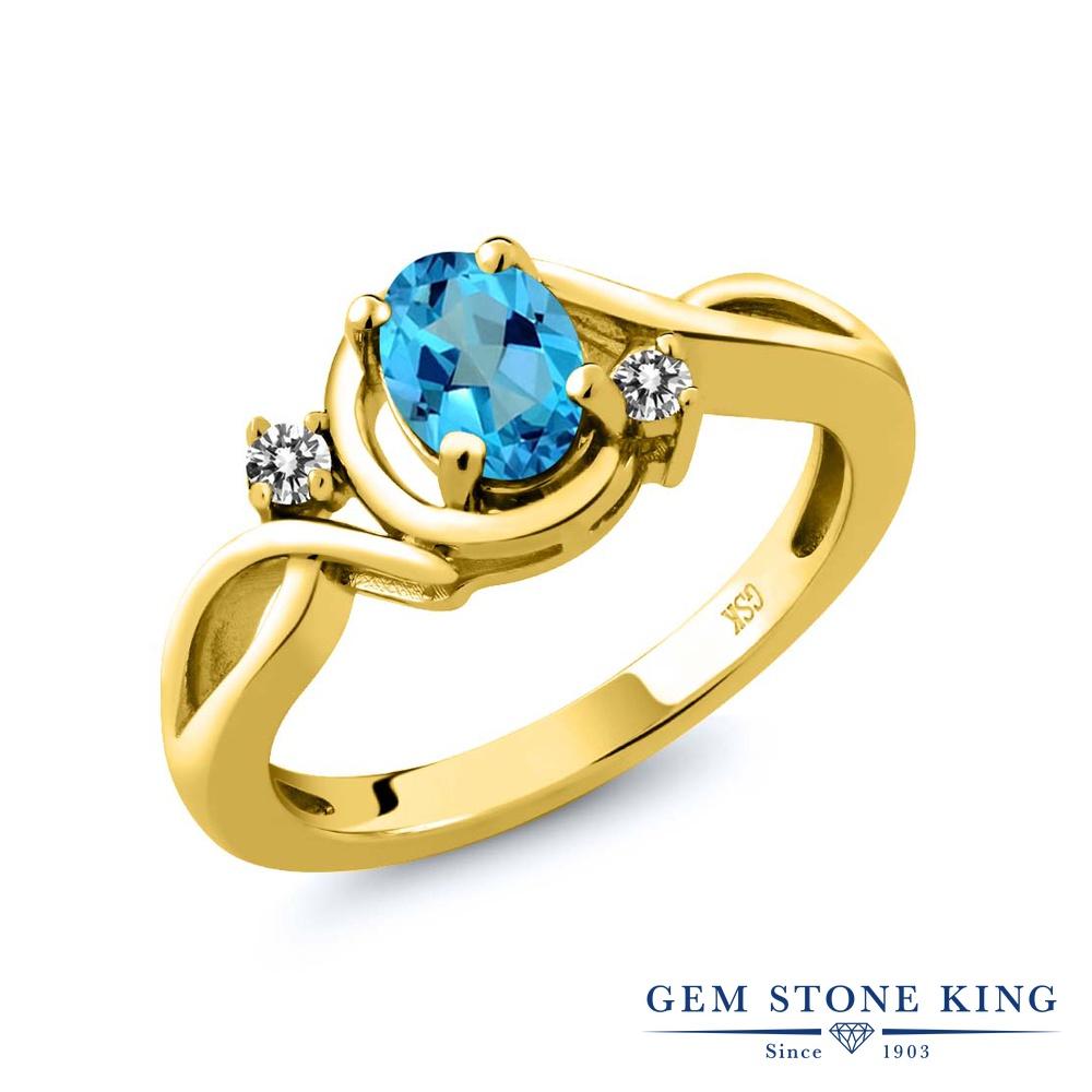【10%OFF】 Gem Stone King 0.87カラット 天然石 ミスティックトパーズ (アメリカンブルー) 天然 ダイヤモンド 指輪 リング レディース シルバー925 イエローゴールド 加工 シンプル ソリティア クリスマスプレゼント 女性 彼女 妻 誕生日