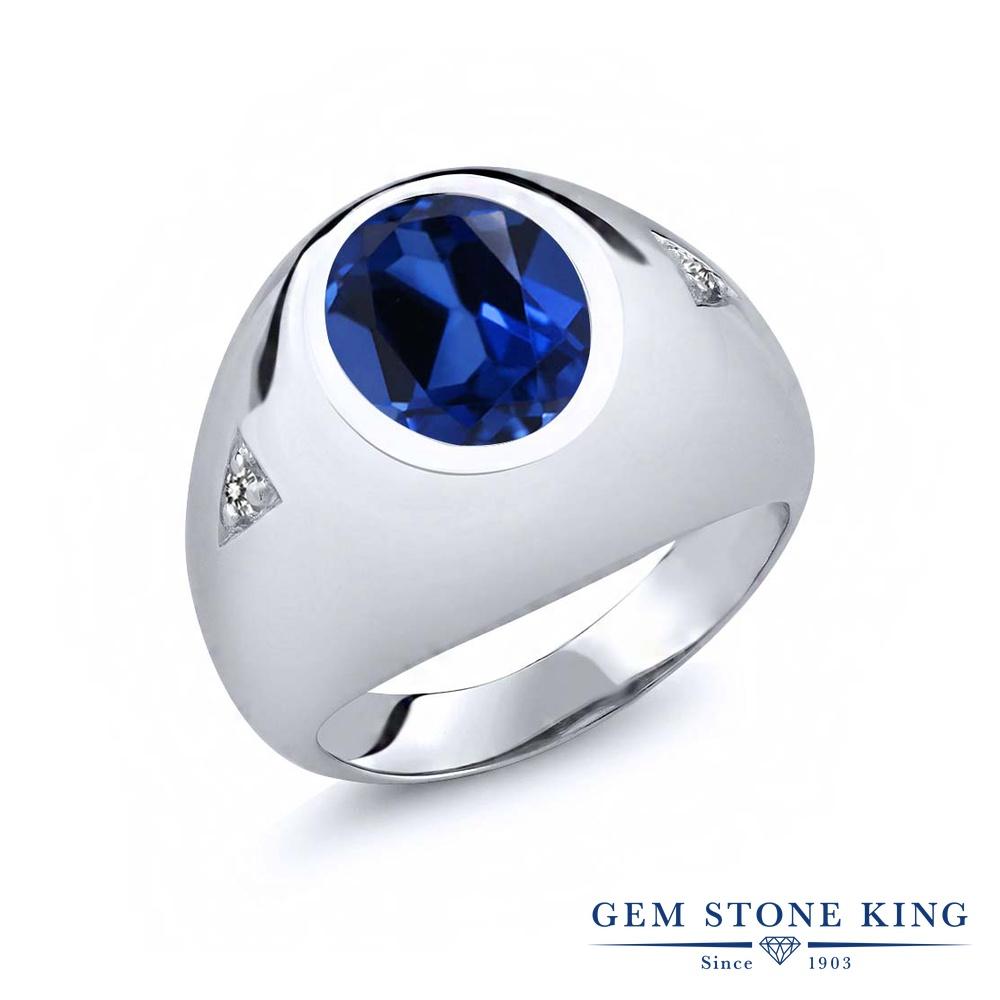 Gem Stone King 6.2カラット シミュレイテッド サファイア 天然 ダイヤモンド シルバー925 指輪 リング レディース 大粒 シンプル ソリティア 金属アレルギー対応 誕生日プレゼント