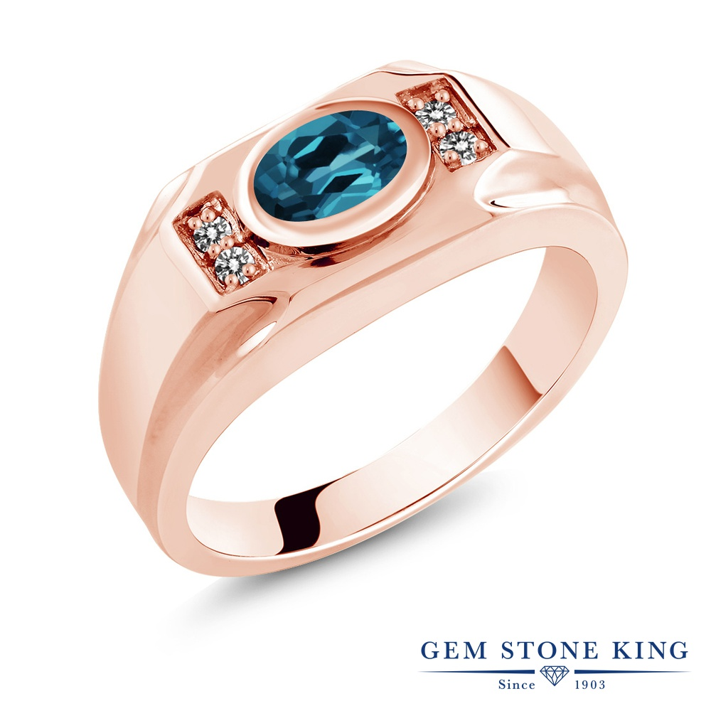 Gem Stone King 1.43カラット 天然 ロンドンブルートパーズ 天然 ダイヤモンド シルバー925 ピンクゴールドコーティング 指輪 リング レディース 大粒 マルチストーン 天然石 11月 誕生石 金属アレルギー対応 誕生日プレゼント