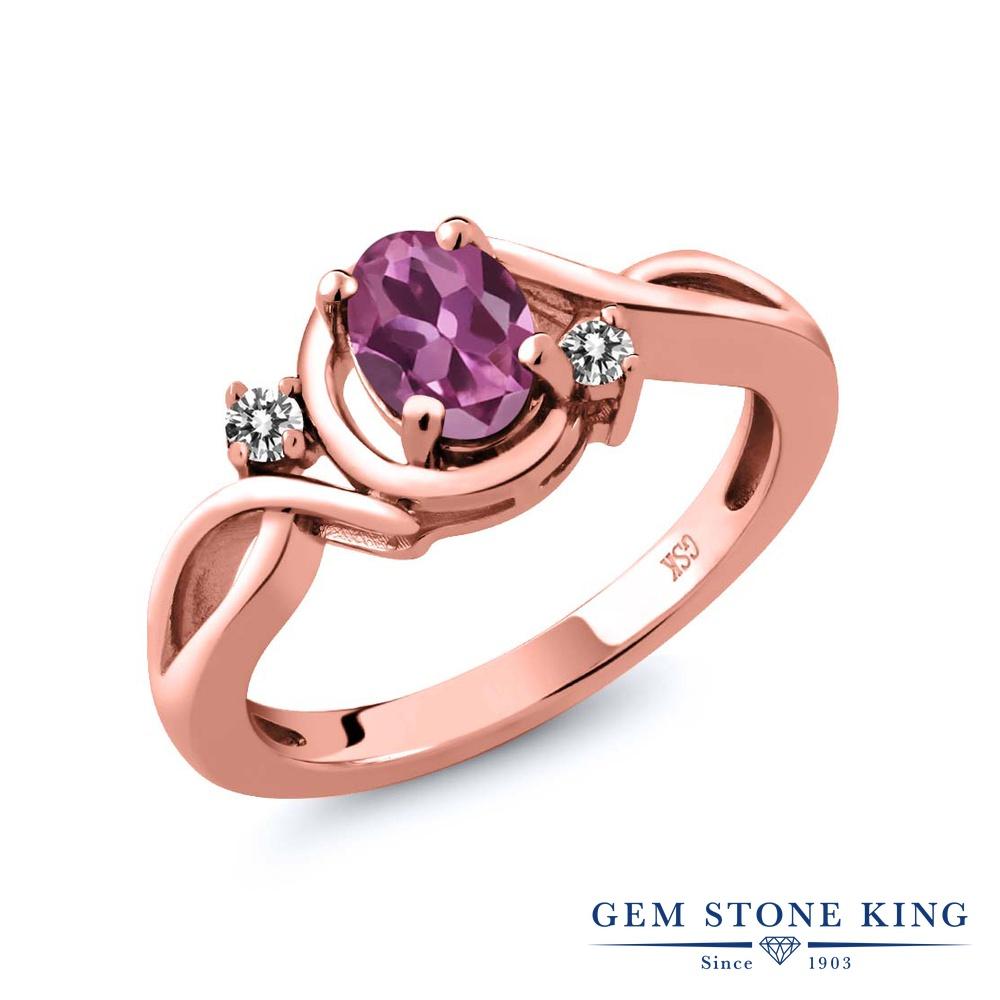 Gem Stone King 0.77カラット AAグレード 天然 ピンクトルマリン 天然 ダイヤモンド シルバー925 ピンクゴールドコーティング 指輪 リング レディース シンプル ソリティア 天然石 金属アレルギー対応 誕生日プレゼント