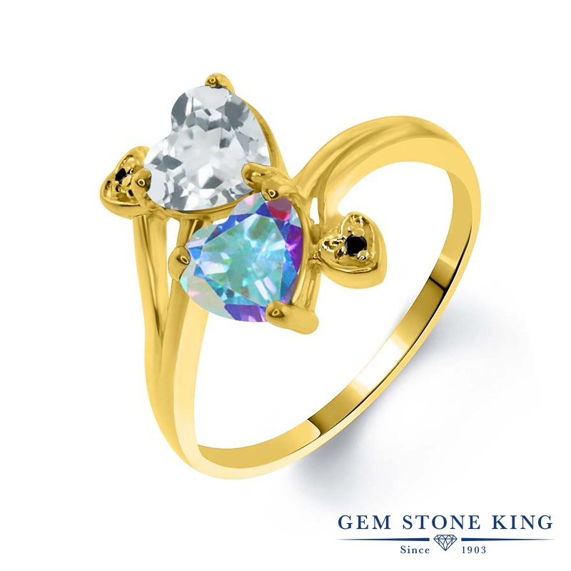 1.93カラット 天然 スカイブルートパーズ 指輪 レディース リング 天然石 ミスティックトパーズ (マーキュリーミスト) ブラックダイヤモンド イエローゴールド 加工 シルバー925 ブランド おしゃれ ハート 水色 ダブルストーン 11月 誕生石