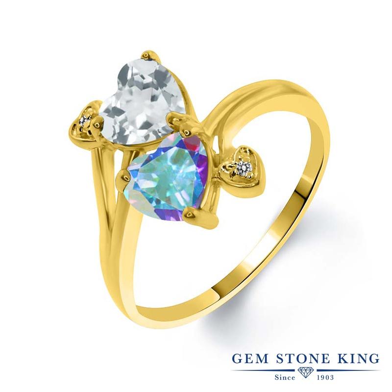 1.93カラット 天然 スカイブルートパーズ 指輪 レディース リング 天然石 ミスティックトパーズ (マーキュリーミスト) ダイヤモンド イエローゴールド 加工 シルバー925 ブランド おしゃれ ハート 水色 ダブルストーン 11月 誕生石