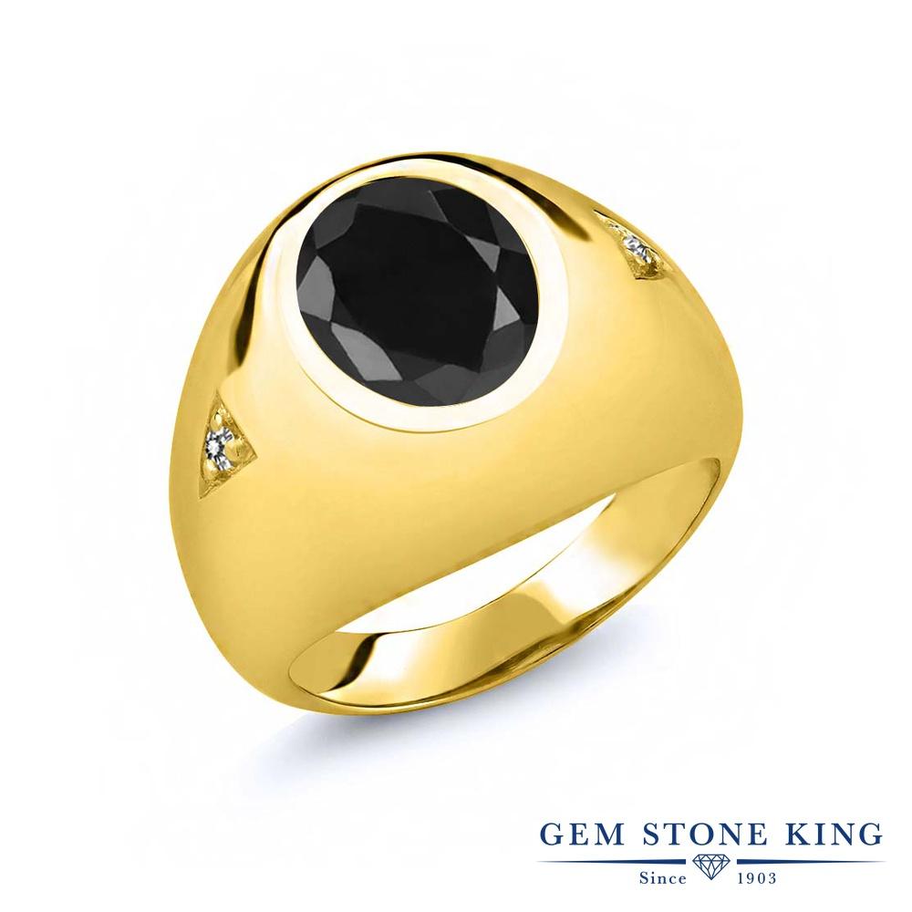 Gem Stone King 4.47カラット 天然 ブラックサファイア 天然 ダイヤモンド シルバー925 イエローゴールドコーティング 指輪 リング レディース 大粒 シンプル ソリティア 天然石 9月 誕生石 金属アレルギー対応 誕生日プレゼント