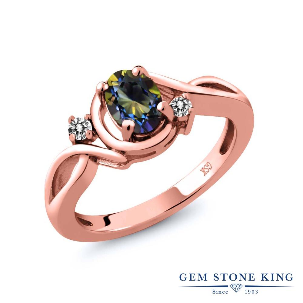 【10%OFF】 Gem Stone King 0.87カラット 天然石 ミスティックトパーズ (ブルー) 天然 ダイヤモンド 指輪 リング レディース シルバー925 ピンクゴールド 加工 シンプル ソリティア クリスマスプレゼント 女性 彼女 妻 誕生日