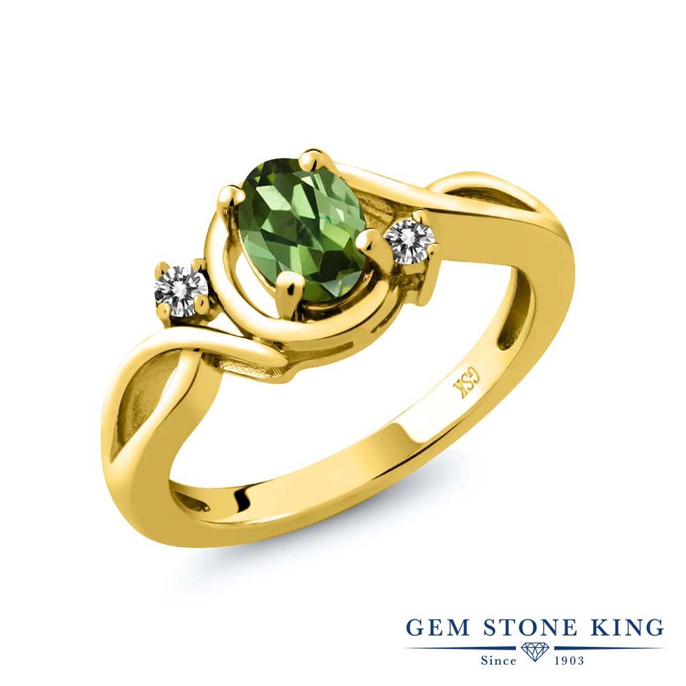 0.77カラット 天然 グリーントルマリン 指輪 レディース リング ダイヤモンド イエローゴールド 加工 シルバー925 ブランド おしゃれ ツイスト ねじれ 緑 シンプル ソリティア 天然石 10月 誕生石 プレゼント 女性 彼女 妻 誕生日