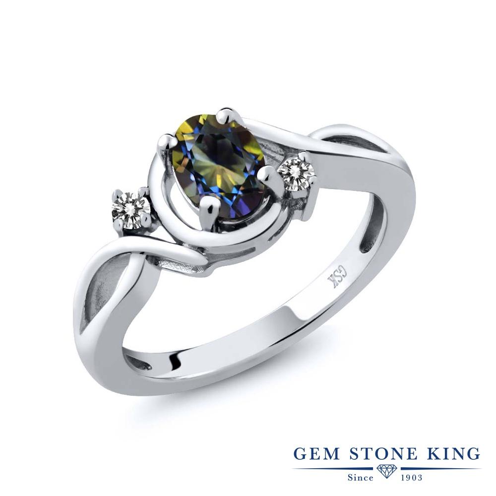 【10%OFF】 Gem Stone King 0.87カラット 天然石 ミスティックトパーズ (ブルー) 天然 ダイヤモンド 指輪 リング レディース シルバー925 シンプル ソリティア クリスマスプレゼント 女性 彼女 妻 誕生日