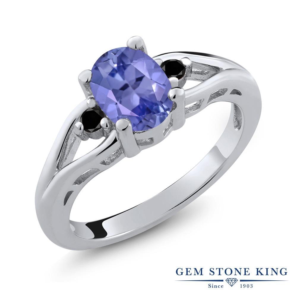 Gem Stone King 1.23カラット 天然石 タンザナイト 天然ブラックダイヤモンド シルバー925 指輪 リング レディース 大粒 シンプル スリーストーン 天然石 12月 誕生石 金属アレルギー対応 誕生日プレゼント