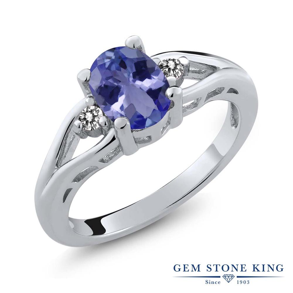 Gem Stone King 1.23カラット 天然石 タンザナイト 天然 ダイヤモンド シルバー925 指輪 リング レディース 大粒 シンプル スリーストーン 天然石 12月 誕生石 金属アレルギー対応 誕生日プレゼント