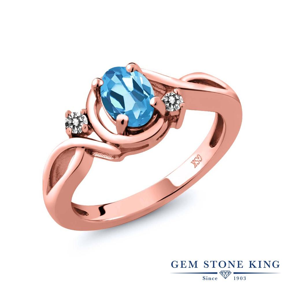 【10%OFF】 Gem Stone King 0.87カラット 天然 スイスブルートパーズ ダイヤモンド 指輪 リング レディース シルバー925 ピンクゴールド 加工 シンプル ソリティア 天然石 11月 誕生石 クリスマスプレゼント 女性 彼女 妻 誕生日
