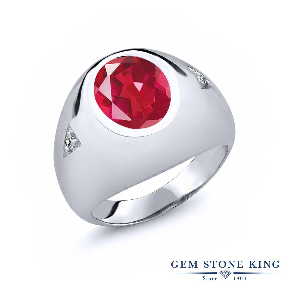 【10%OFF】 Gem Stone King 4.07カラット 天然石 ミスティッククォーツ (ピンク) 天然 ダイヤモンド 指輪 リング レディース シルバー925 大粒 シンプル ソリティア クリスマスプレゼント 女性 彼女 妻 誕生日