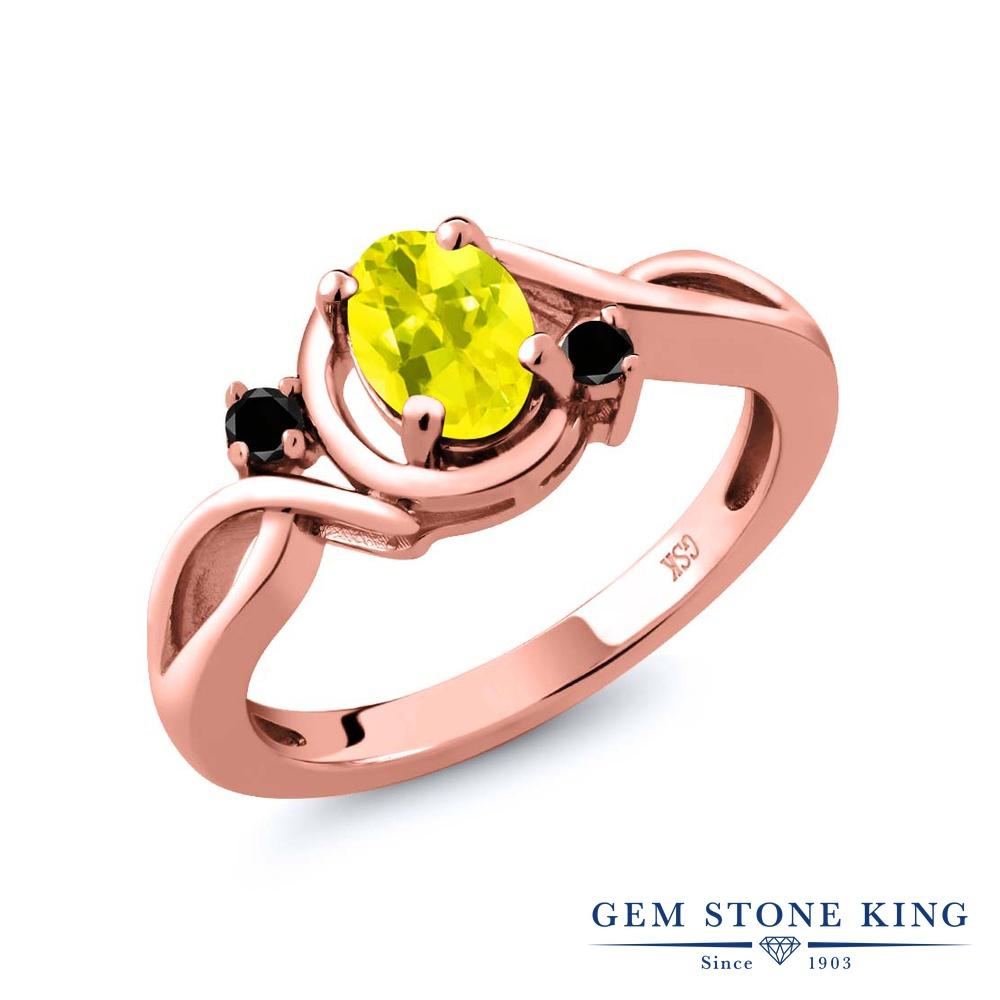 Gem Stone King 0.87カラット 天然石 ミスティックトパーズ (イエロー) ブラックダイヤモンド 指輪 リング レディース シルバー925 ピンクゴールド 加工 シンプル ソリティア 金属アレルギー対応