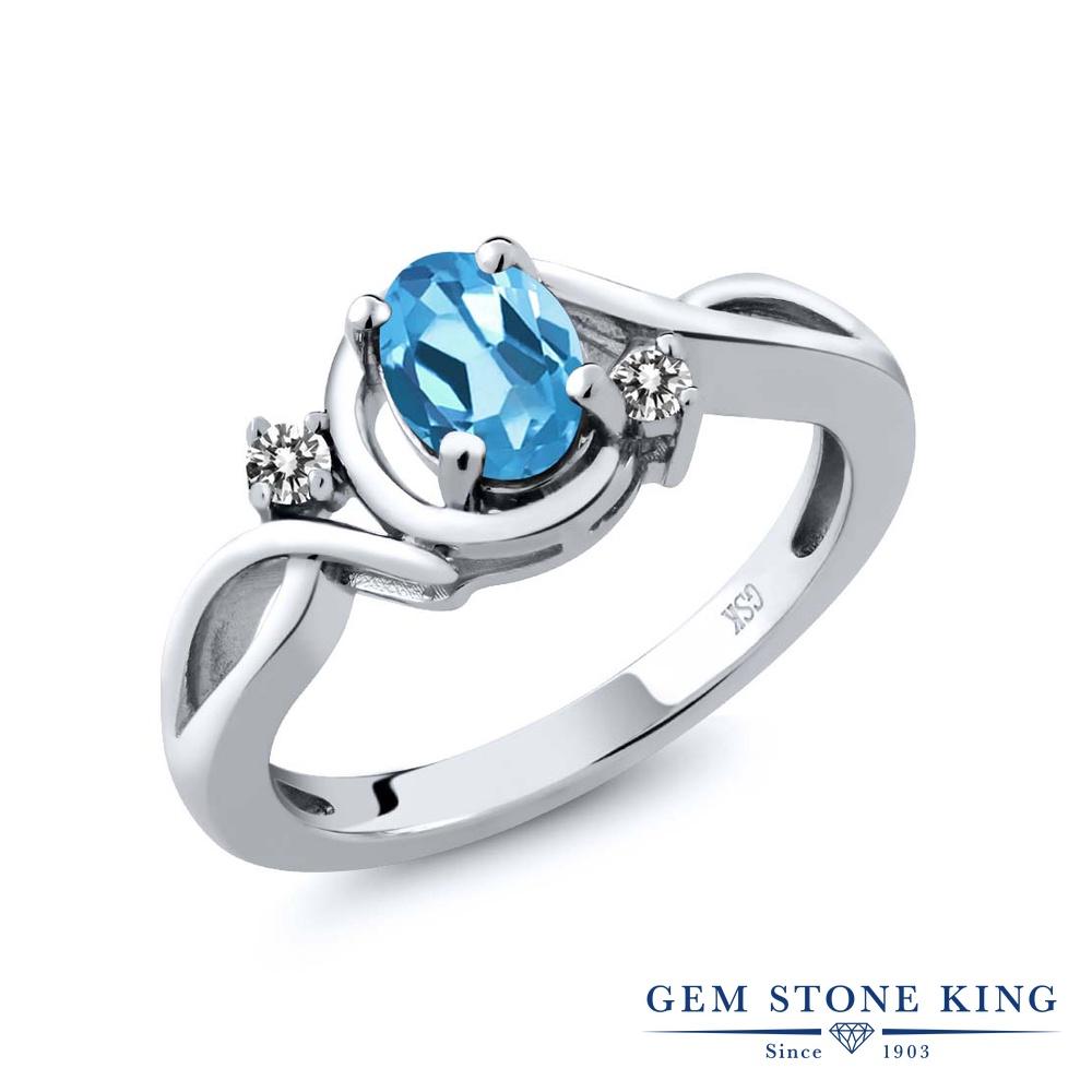Gem Stone King 0.87カラット 天然 スイスブルートパーズ 天然 ダイヤモンド シルバー925 指輪 リング レディース シンプル ソリティア 天然石 11月 誕生石 金属アレルギー対応 誕生日プレゼント