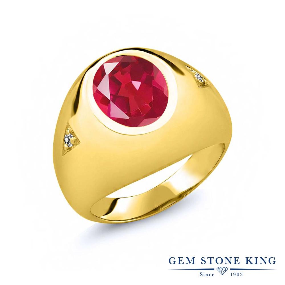 【10%OFF】 Gem Stone King 4.07カラット 天然石 ミスティッククォーツ (ピンク) 天然 ダイヤモンド 指輪 リング レディース シルバー925 イエローゴールド 加工 大粒 シンプル ソリティア クリスマスプレゼント 女性 彼女 妻 誕生日