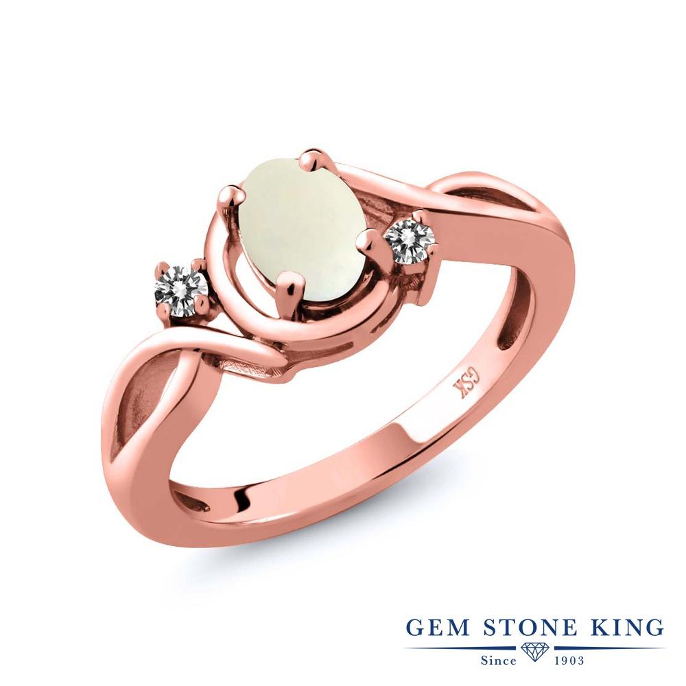【10%OFF】 Gem Stone King 0.7カラット シミュレイテッド ホワイトオパール 天然 ダイヤモンド 指輪 リング レディース シルバー925 ピンクゴールド 加工 シンプル ソリティア 10月 誕生石 クリスマスプレゼント 女性 彼女 妻 誕生日