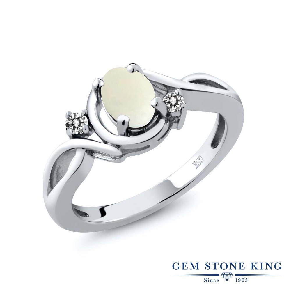 【10%OFF】 Gem Stone King 0.7カラット シミュレイテッド ホワイトオパール 天然 ダイヤモンド 指輪 リング レディース シルバー925 シンプル ソリティア 10月 誕生石 クリスマスプレゼント 女性 彼女 妻 誕生日