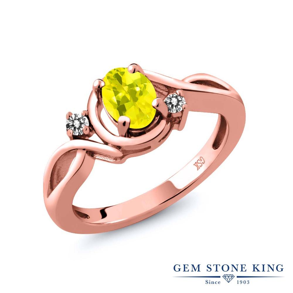 【10%OFF】 Gem Stone King 0.87カラット 天然石 ミスティックトパーズ (イエロー) 天然 ダイヤモンド 指輪 リング レディース シルバー925 ピンクゴールド 加工 シンプル ソリティア クリスマスプレゼント 女性 彼女 妻 誕生日
