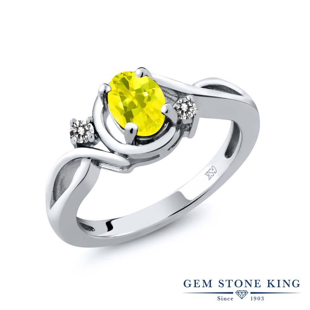【10%OFF】 Gem Stone King 0.87カラット 天然石 ミスティックトパーズ (イエロー) 天然 ダイヤモンド 指輪 リング レディース シルバー925 シンプル ソリティア クリスマスプレゼント 女性 彼女 妻 誕生日