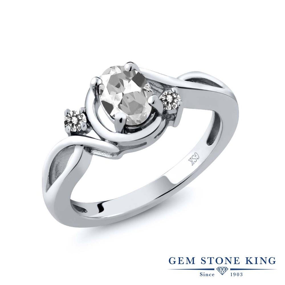 【10%OFF】 Gem Stone King 1.02カラット 天然 トパーズ ダイヤモンド 指輪 リング レディース シルバー925 シンプル ソリティア 天然石 11月 誕生石 クリスマスプレゼント 女性 彼女 妻 誕生日