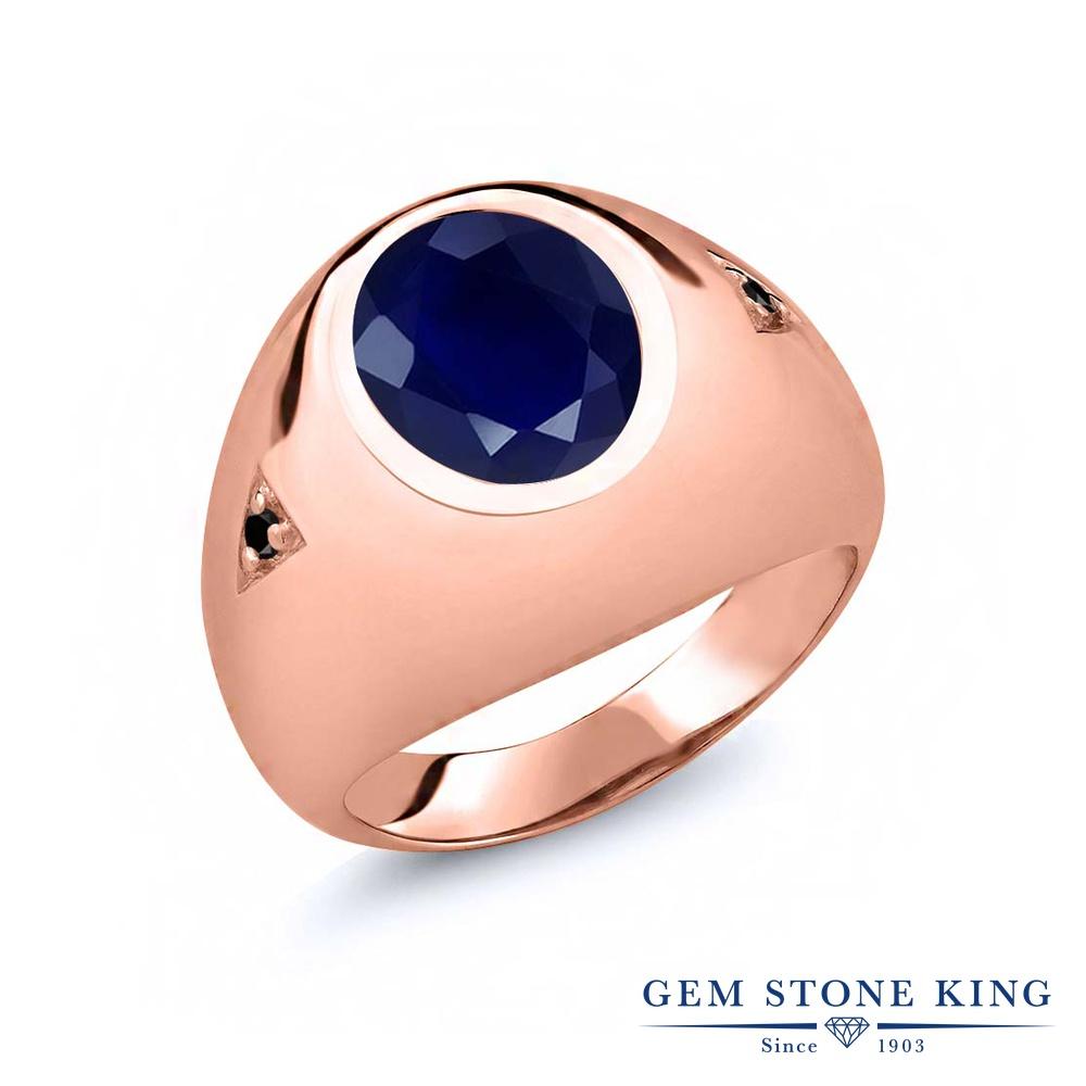【10%OFF】 Gem Stone King 5.07カラット 天然 サファイア ブラックダイヤモンド 指輪 リング レディース シルバー925 ピンクゴールド 加工 大粒 シンプル ソリティア 天然石 9月 誕生石 クリスマスプレゼント 女性 彼女 妻 誕生日