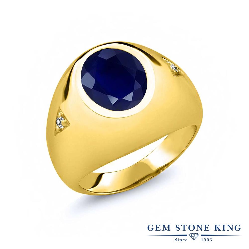Gem Stone King 5.07カラット 天然 サファイア 天然 ダイヤモンド シルバー925 イエローゴールドコーティング 指輪 リング レディース 大粒 シンプル ソリティア 天然石 9月 誕生石 金属アレルギー対応 誕生日プレゼント