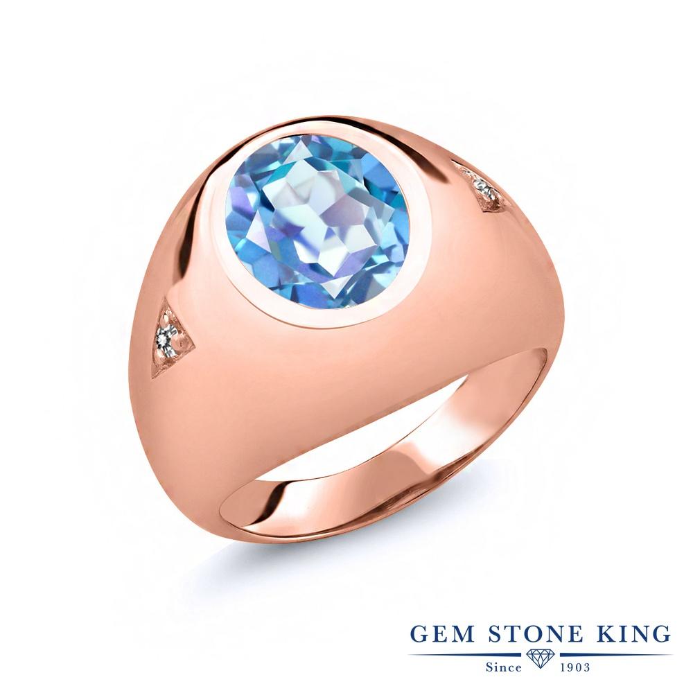 【10%OFF】 Gem Stone King 4.07カラット 天然 ミスティッククォーツ (ミレニアムブルー) ダイヤモンド 指輪 リング レディース シルバー925 ピンクゴールド 加工 大粒 シンプル ソリティア 天然石 クリスマスプレゼント 女性 彼女 妻 誕生日