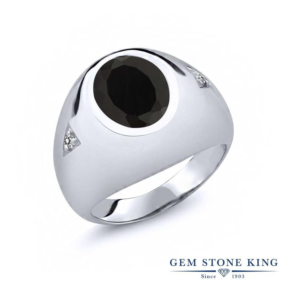 【10%OFF】 Gem Stone King 4.07カラット 天然 オニキス ダイヤモンド 指輪 リング レディース シルバー925 大粒 シンプル ソリティア 天然石 8月 誕生石 クリスマスプレゼント 女性 彼女 妻 誕生日
