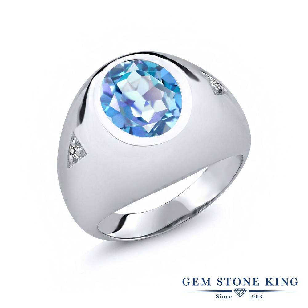 Gem Stone King 4.07カラット 天然 ミスティッククォーツ (ミレニアムブルー) 天然 ダイヤモンド シルバー925 指輪 リング レディース 大粒 シンプル ソリティア 天然石 金属アレルギー対応 誕生日プレゼント