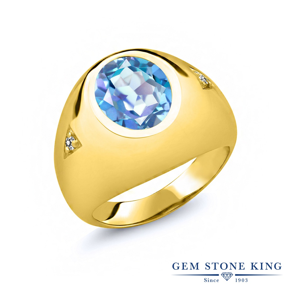 Gem Stone King 4.07カラット 天然 ミスティッククォーツ (ミレニアムブルー) 天然 ダイヤモンド シルバー925 イエローゴールドコーティング 指輪 リング レディース 大粒 シンプル ソリティア 天然石 金属アレルギー対応 誕生日プレゼント