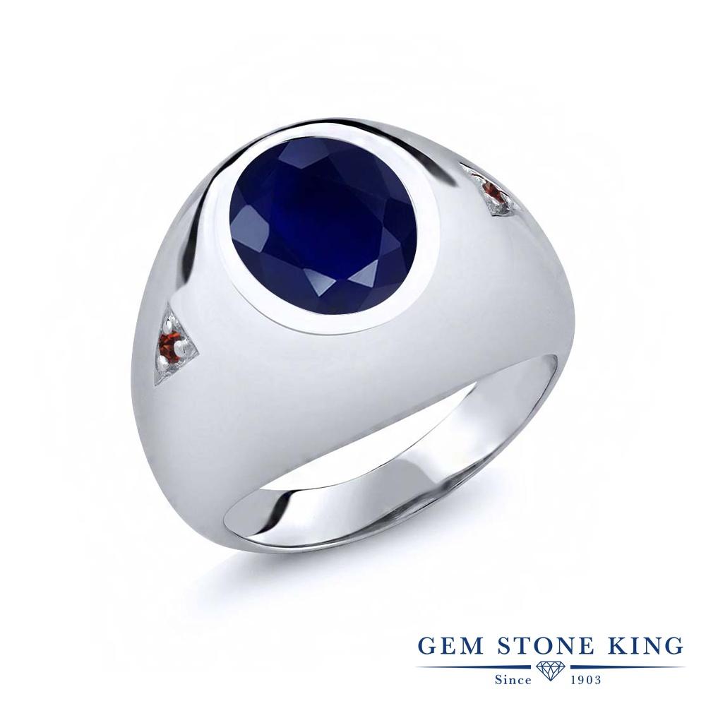 Gem Stone King 5.08カラット 天然 サファイア 天然 ガーネット シルバー925 指輪 リング レディース 大粒 シンプル ソリティア 天然石 9月 誕生石 金属アレルギー対応 誕生日プレゼント