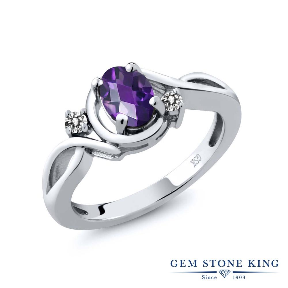 【10%OFF】 Gem Stone King 0.82カラット 天然 アメジスト ダイヤモンド 指輪 リング レディース シルバー925 アメシスト シンプル ソリティア 天然石 2月 誕生石 クリスマスプレゼント 女性 彼女 妻 誕生日