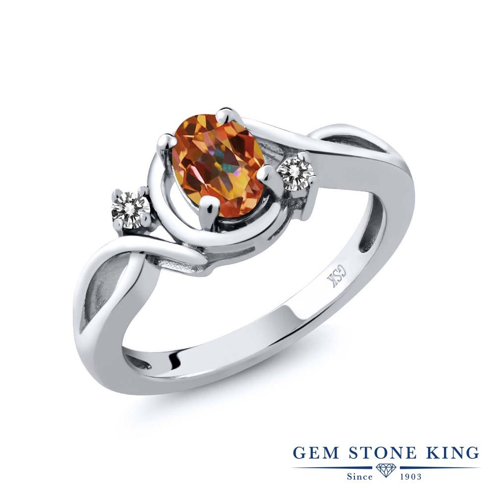 0.87カラット 天然石 エクスタシーミスティックトパーズ 指輪 レディース リング 天然 ダイヤモンド シルバー925 ブランド おしゃれ ツイスト ねじれ シンプル ソリティア プレゼント 女性 彼女 妻 誕生日