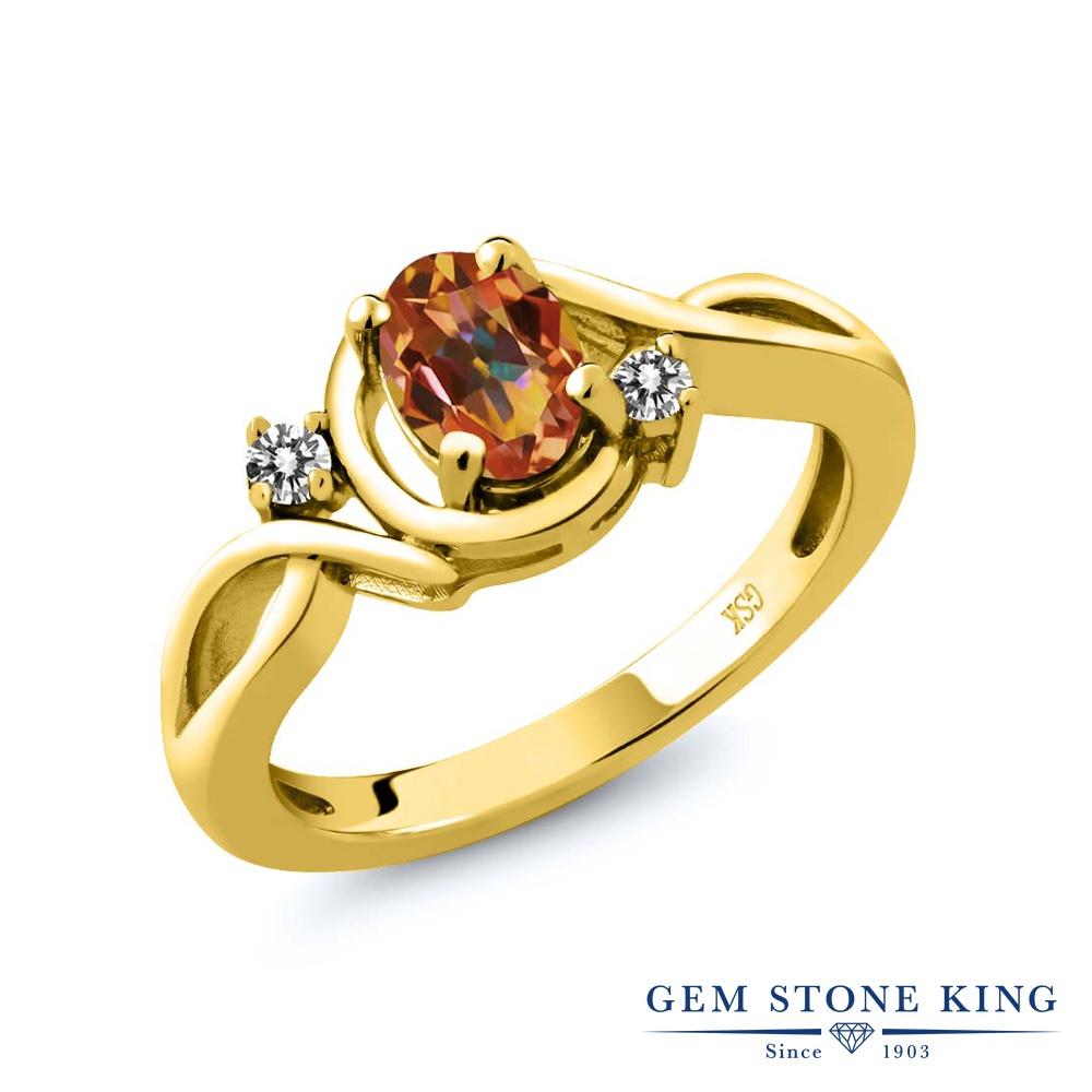 【10%OFF】 Gem Stone King 0.87カラット 天然石 エクスタシーミスティックトパーズ 天然 ダイヤモンド 指輪 リング レディース シルバー925 イエローゴールド 加工 シンプル ソリティア クリスマスプレゼント 女性 彼女 妻 誕生日