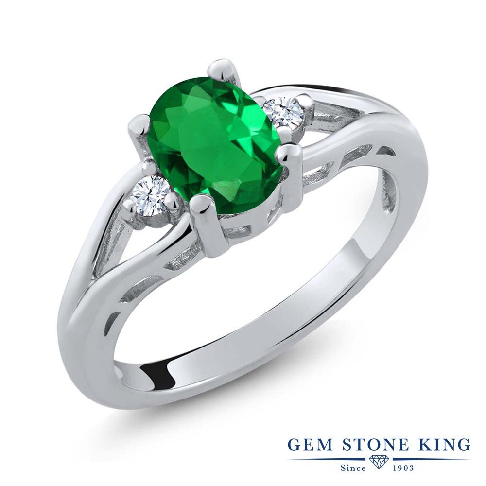 Gem Stone King 1.08カラット ナノエメラルド 天然 トパーズ 指輪 リング レディース シルバー925 大粒 シンプル スリーストーン 金属アレルギー対応