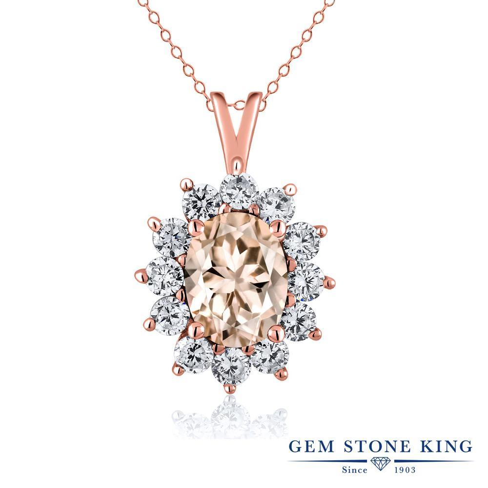 Gem Stone King 1.6カラット 天然 モルガナイト (ピーチ) シルバー925 ピンクゴールドコーティング ネックレス ペンダント レディース 大粒 天然石 3月 誕生石 金属アレルギー対応 誕生日プレゼント
