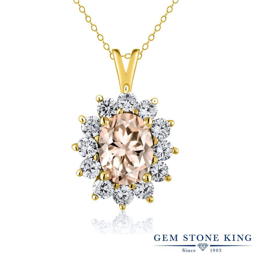 Gem Stone King 1.6カラット 天然 モルガナイト (ピーチ) シルバー925 イエローゴールドコーティング ネックレス ペンダント レディース 大粒 天然石 3月 誕生石 金属アレルギー対応 誕生日プレゼント