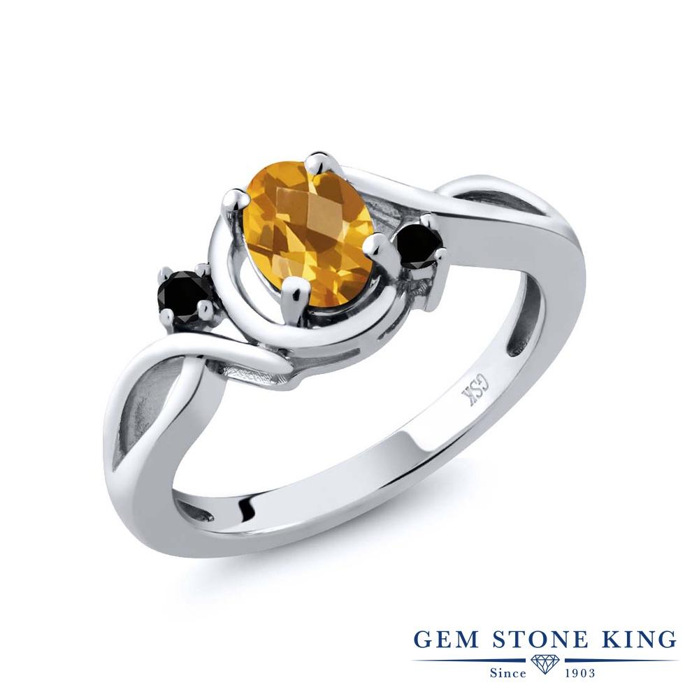 0.77カラット 天然 シトリン 指輪 レディース リング ブラックダイヤモンド シルバー925 ブランド おしゃれ ツイスト ねじれ 黄色 シンプル ソリティア 天然石 11月 誕生石 金属アレルギー対応