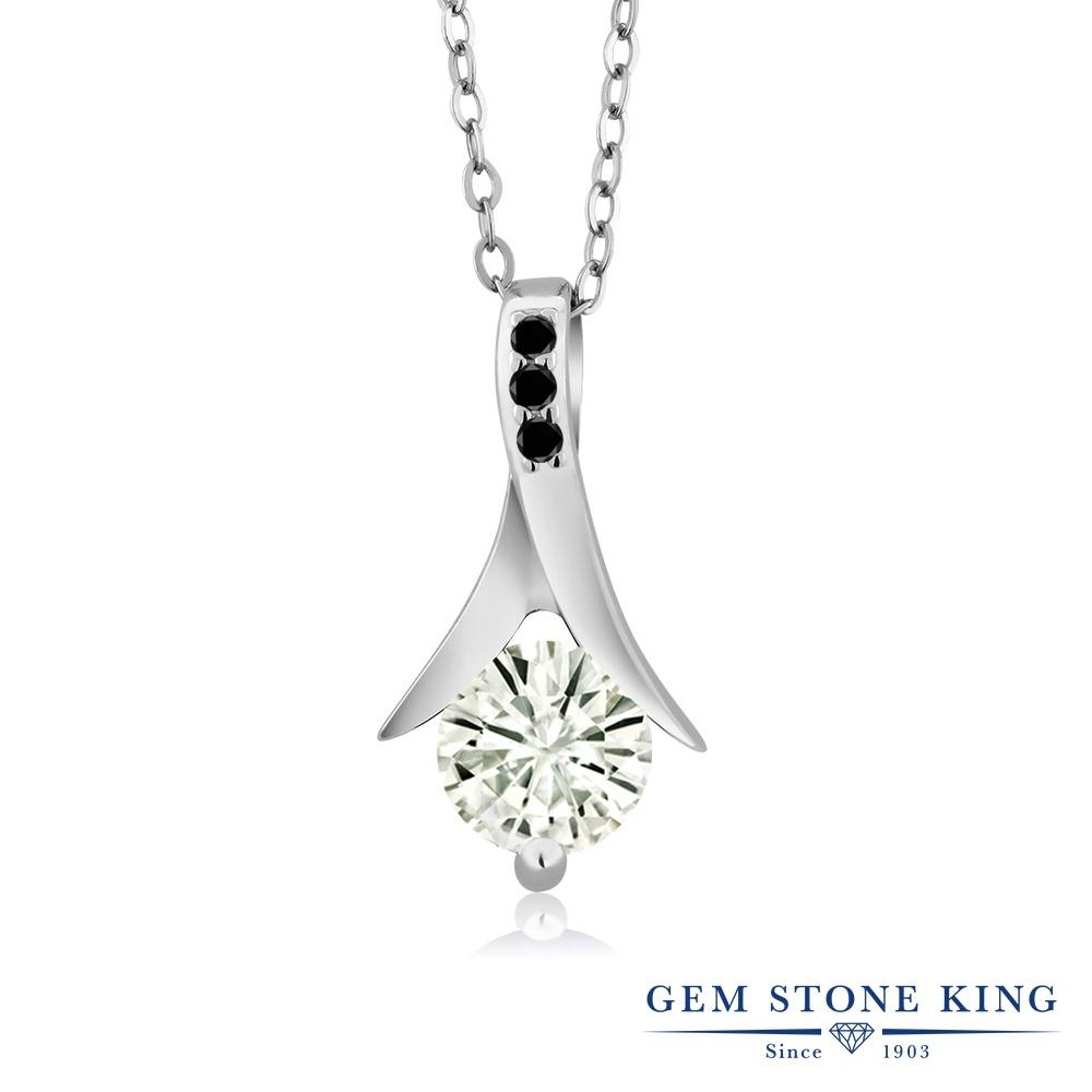 【クーポンで7%OFF】 Gem Stone King 0.85カラット Forever Classic モアサナイト Charles & Colvard 天然ブラックダイヤモンド シルバー925 ネックレス ペンダント レディース モアッサナイト プレゼント 女性 彼女 誕生日 クリスマス