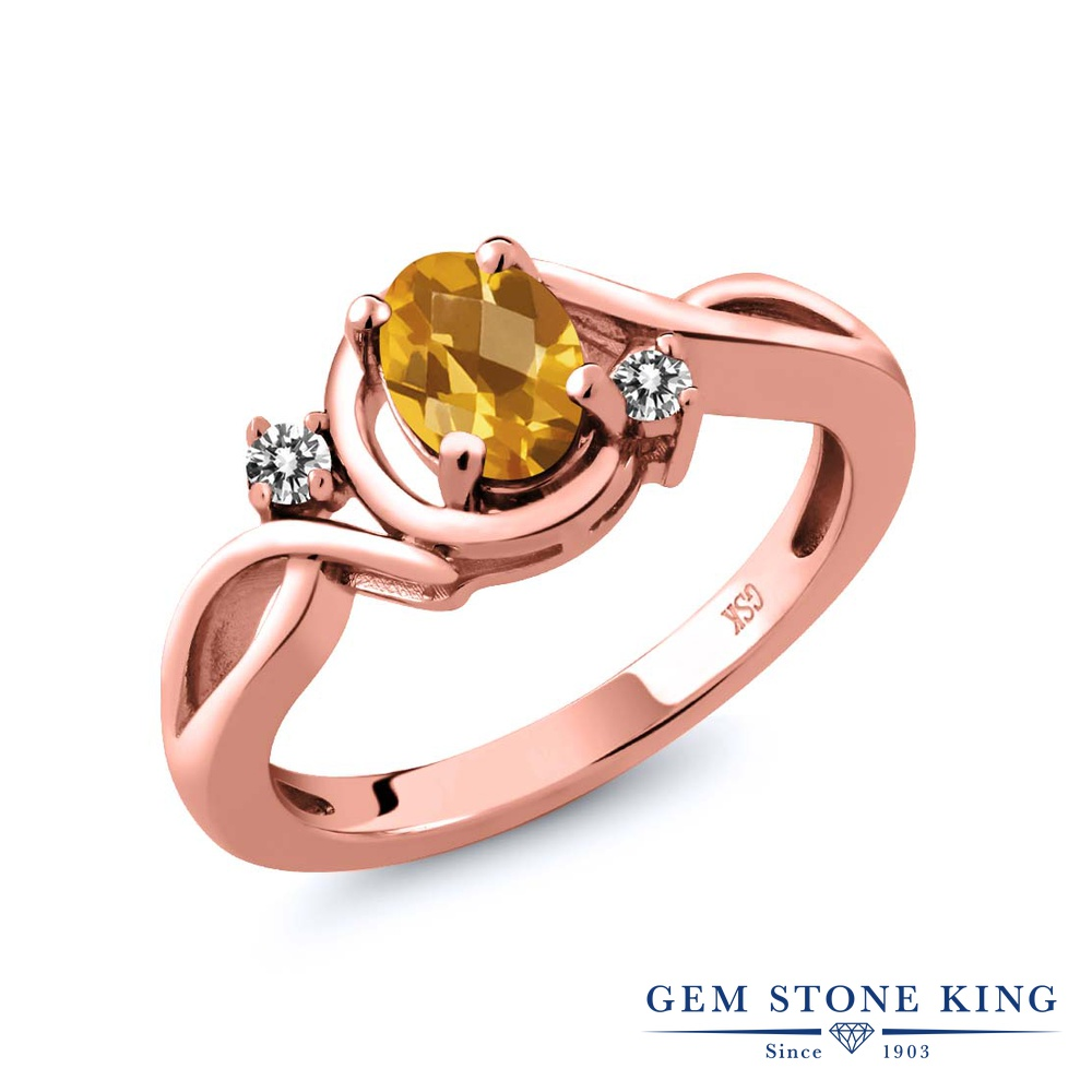 Gem Stone King 0.77カラット 天然 シトリン 天然 ダイヤモンド シルバー925 ピンクゴールドコーティング 指輪 リング レディース シンプル ソリティア 天然石 11月 誕生石 金属アレルギー対応 誕生日プレゼント