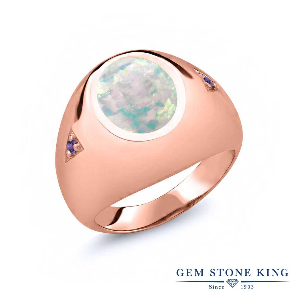 Gem Stone King 4.08カラット シミュレイテッド ホワイトオパール 天然 アメジスト シルバー925 ピンクゴールドコーティング 指輪 リング レディース 大粒 シンプル ソリティア 10月 誕生石 金属アレルギー対応 誕生日プレゼント
