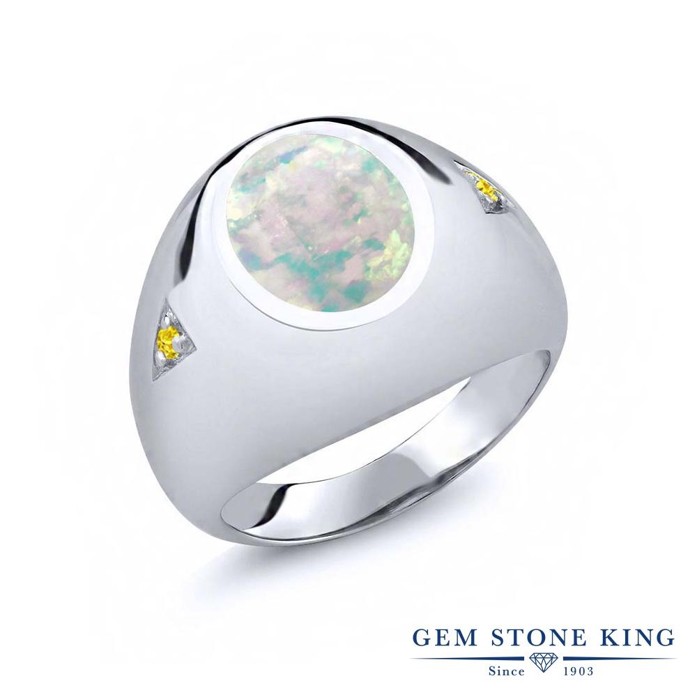Gem Stone King 4.1カラット シミュレイテッド ホワイトオパール シルバー925 指輪 リング レディース 大粒 シンプル ソリティア 10月 誕生石 金属アレルギー対応 誕生日プレゼント