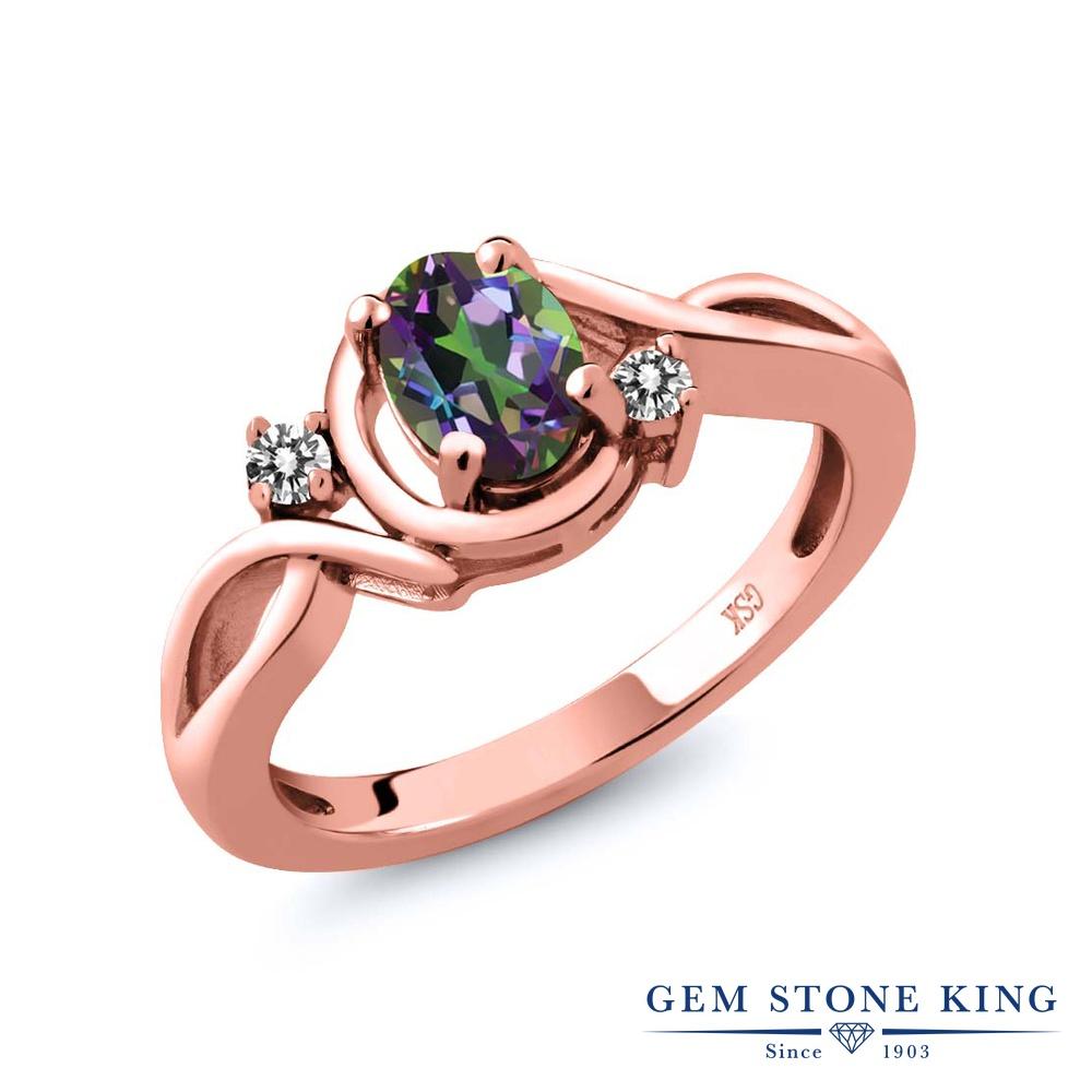 【10%OFF】 Gem Stone King 0.87カラット 天然石 ミスティックトパーズ (グリーン) 天然 ダイヤモンド 指輪 リング レディース シルバー925 ピンクゴールド 加工 シンプル ソリティア クリスマスプレゼント 女性 彼女 妻 誕生日