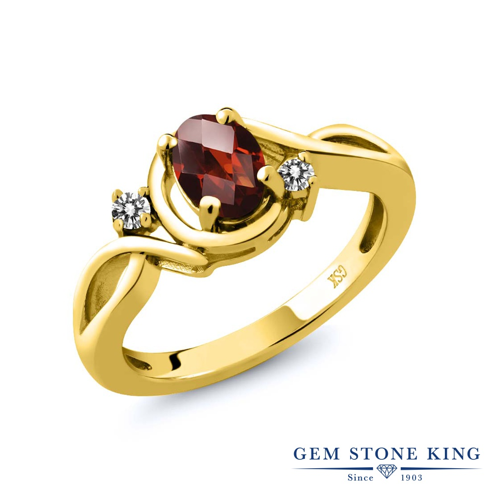 Gem Stone King 0.87カラット 天然 ガーネット 天然 ダイヤモンド シルバー925 イエローゴールドコーティング 指輪 リング レディース シンプル ソリティア 天然石 1月 誕生石 金属アレルギー対応 誕生日プレゼント
