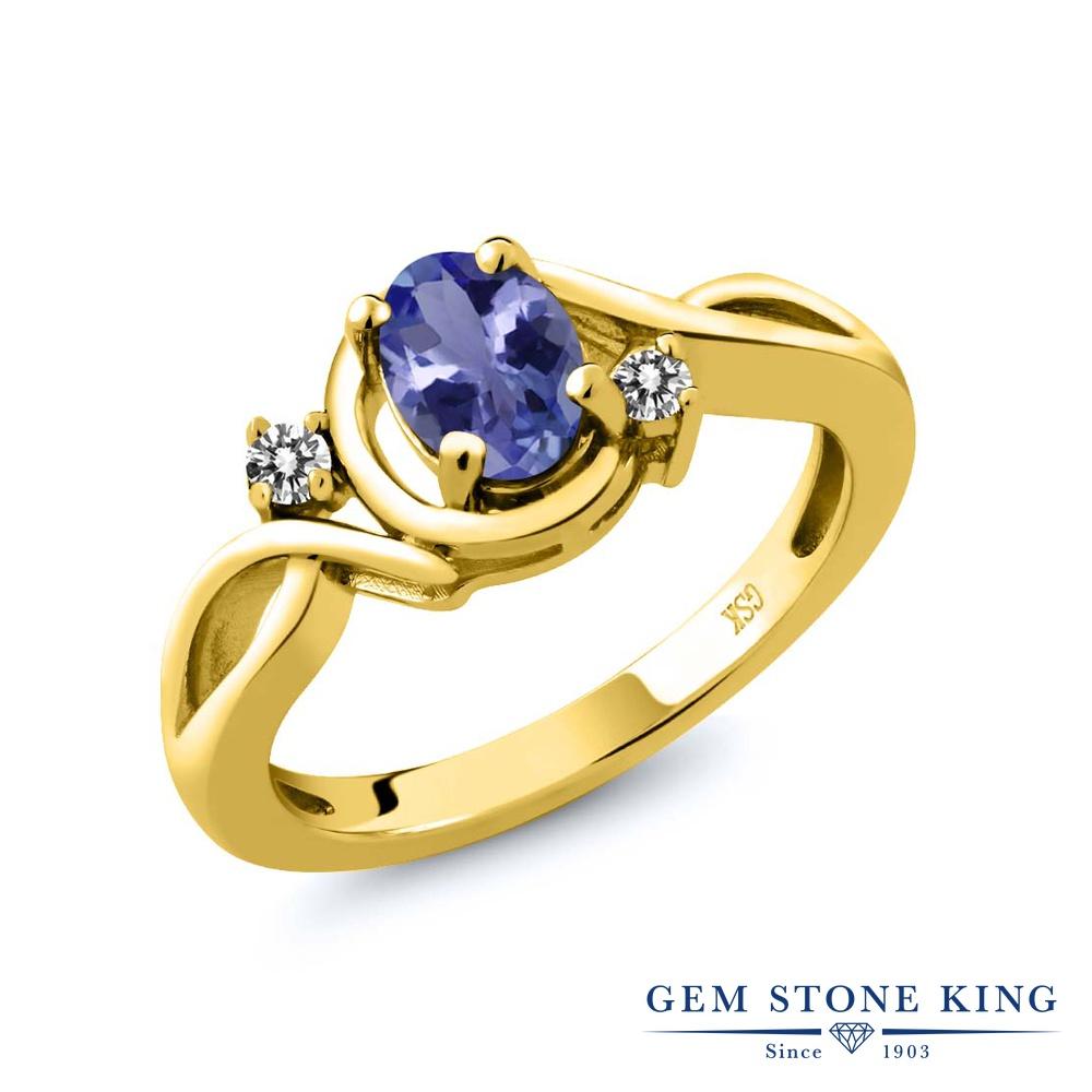 Gem Stone King 0.82カラット 天然石 タンザナイト 天然 ダイヤモンド シルバー925 イエローゴールドコーティング 指輪 リング レディース シンプル ソリティア 天然石 12月 誕生石 金属アレルギー対応 誕生日プレゼント