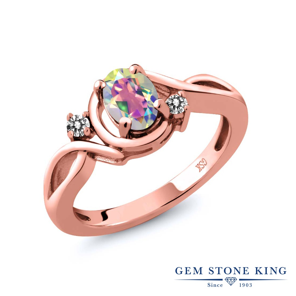 Gem Stone King 0.87カラット 天然石 ミスティックトパーズ (マーキュリーミスト) 天然 ダイヤモンド シルバー925 ピンクゴールドコーティング 指輪 リング レディース シンプル ソリティア 天然石 金属アレルギー対応 誕生日プレゼント