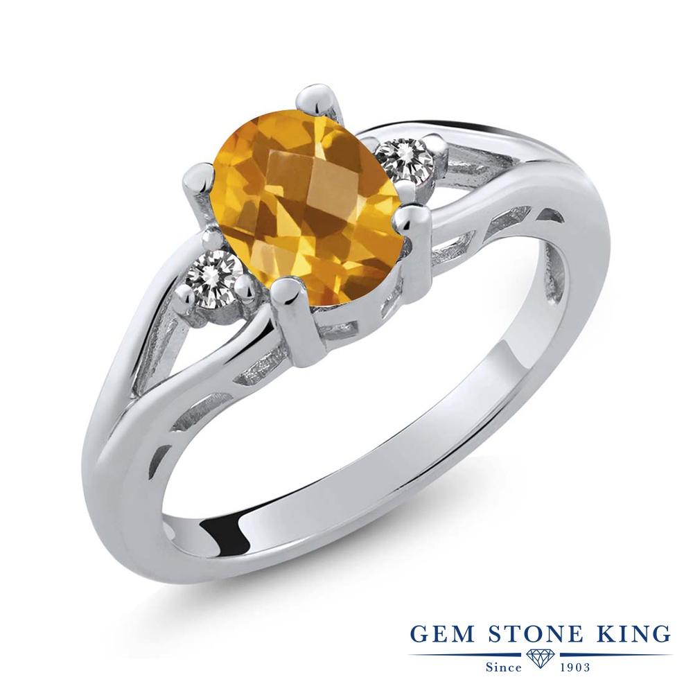 1.32カラット 天然 シトリン 指輪 レディース リング ダイヤモンド シルバー925 ブランド おしゃれ 黄色 大粒 シンプル スリーストーン 天然石 11月 誕生石 金属アレルギー対応